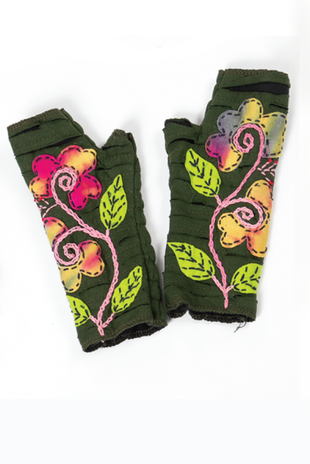 Windhorse - Floral Embroidered Hand Warmers in Green (WO9095)
