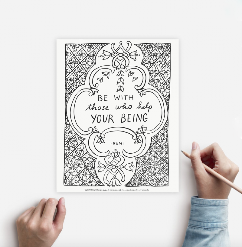 Coloring Page BEING Instant Download