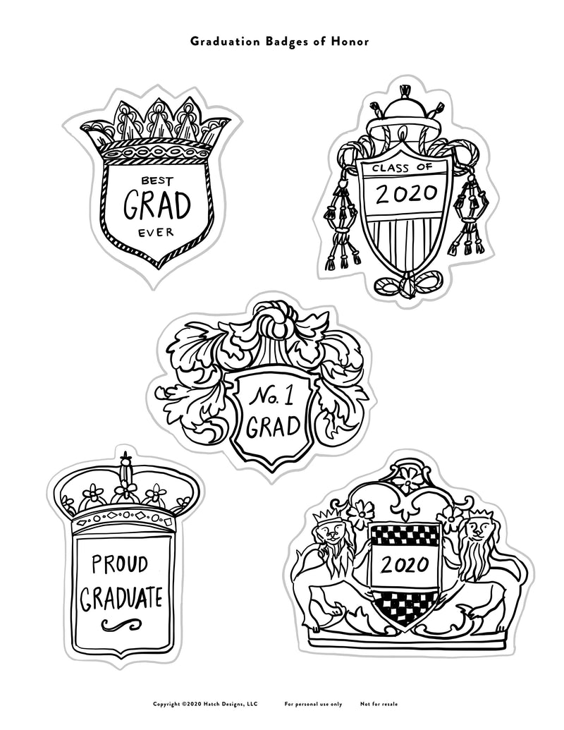 Graduate Printable Badges of Honor Instant Download