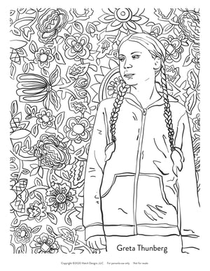 Five Women Environmentalists Coloring Page Instant Download