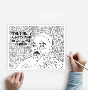 Coloring Page Dr. Martin Luther King Jr. Instant Download