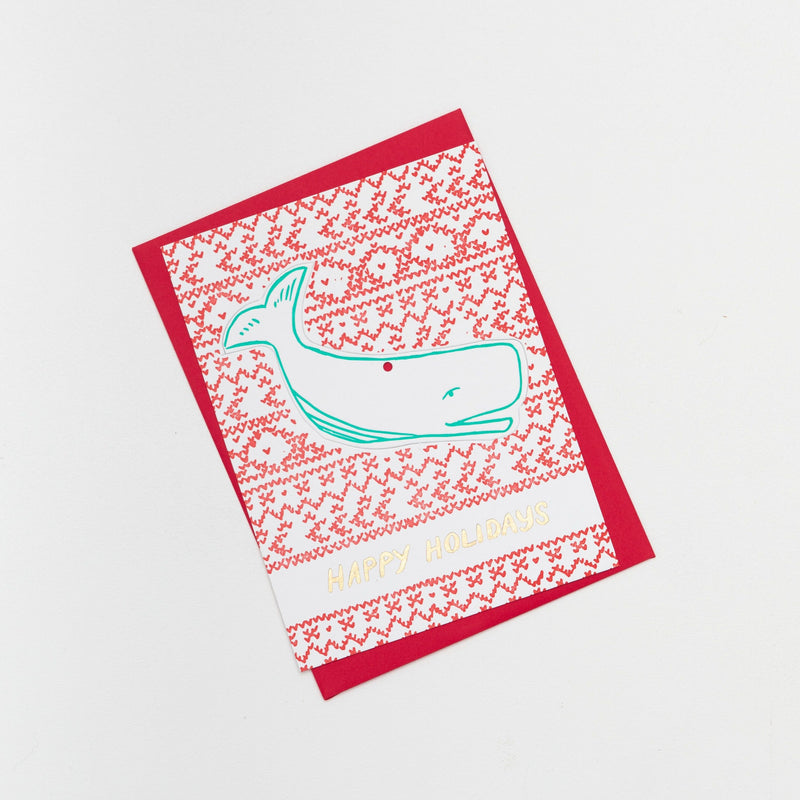 Whale Die Cut Holiday Ornament Card