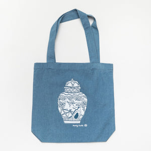 Well Versed Vase Tote-Denim