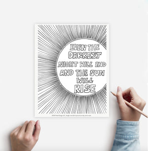 Coloring Page RISING SUN Instant Download