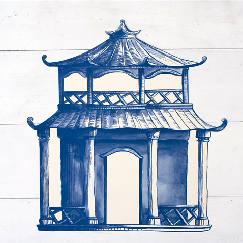 China Blue Pagoda Die-Cut Paper Placemat Sheets