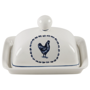 Vintage Farm Butter Dish Rooster