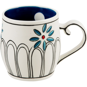Flower Patch Mug Blue Polka Dot