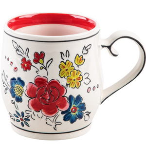 Flower Patch Mug Red Stripe
