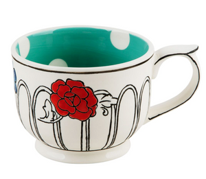 Flower Patch Mug Teal polka dot