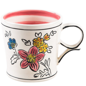 Flower Patch Mug Pink Stripe