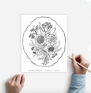 Coloring Page Bouquet Instant Download