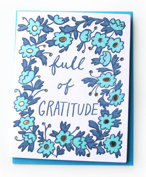 Full of Gratitude Thank You Card Blue