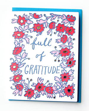 Full of Gratitude Thank You Card Pink