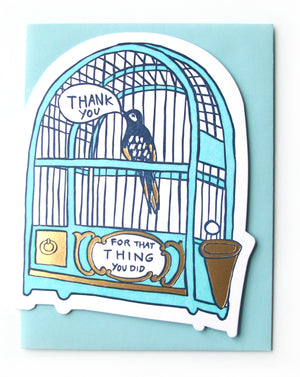Die Cut Bird Thank You Card