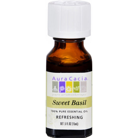 Aura Cacia Essential Sweet Basil Oil (0.5 FL OZ.)