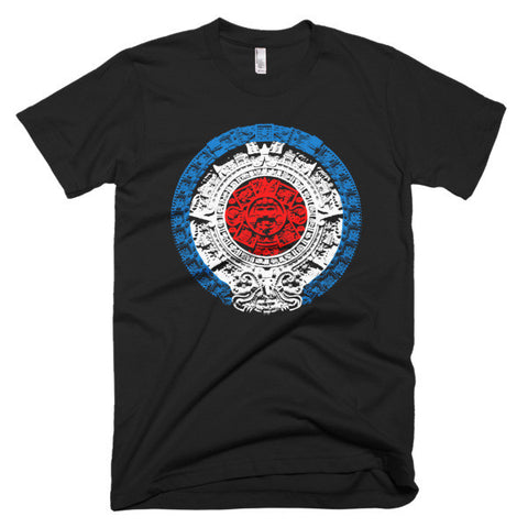 Aztec Calendar Red White Blue Short sleeve men's t-shirt