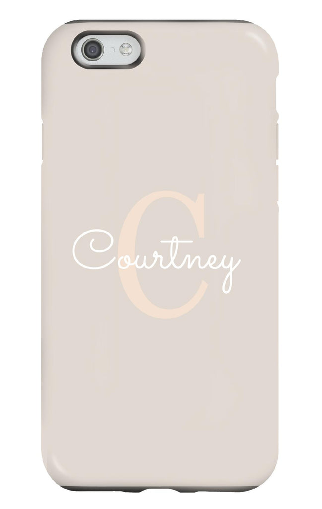 Personalised Nude and White Tough Phone Case