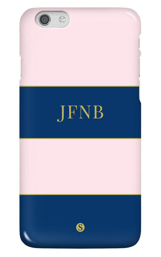 Personalised Navy and Pink Stripe Phone Case
