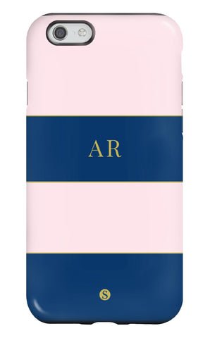 Personalised Navy and Pink Tough Stripe Phone Case