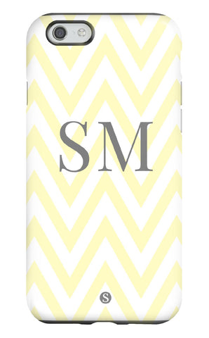 Personalised Zig Zag Yellow and Grey Tough Phone Case