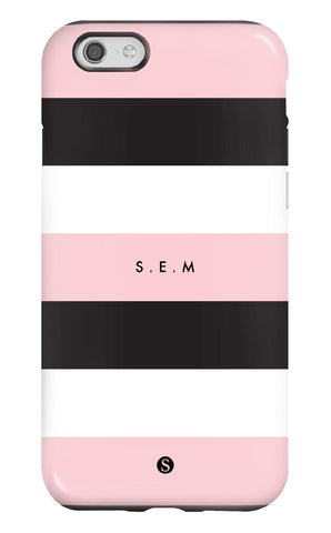 Personalised Pink Stripe Tough Phone Case