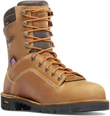 DANNER QUARRY USA DISTRESSED BROWN Insulated 400G Composite Non Metallic Toe 8 Inches heigh light brown with light brown laces small heel American flag on side and danner logo dark brown padded on top