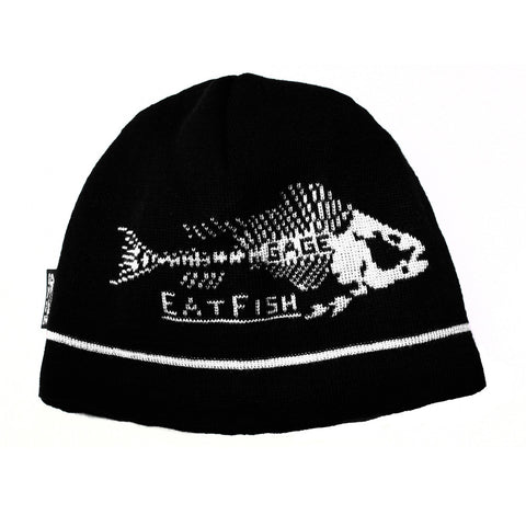 Grundens Eat Fish Beanie Black&White Hat