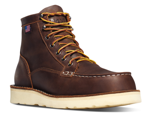 "DANNER BULL RUN MOC TOE 6"" BROWN with Amercian Flag wedge sole"