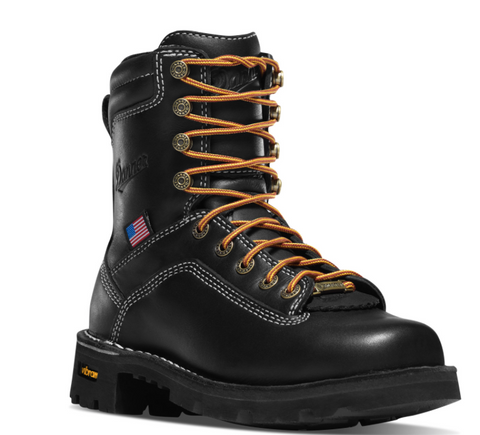 "Danner WOMEN'S QUARRY USA 7"" BLACK with orange laces and American Flag ALLOY TOE"