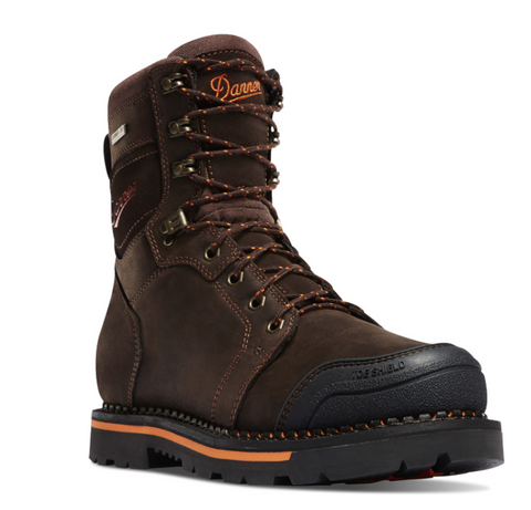 Danner Trakwelt Non Metallic Toe Work Boots dark brown with orange accents with Danner written in orange black toe cap brown with orange highlight laces 8 inches height