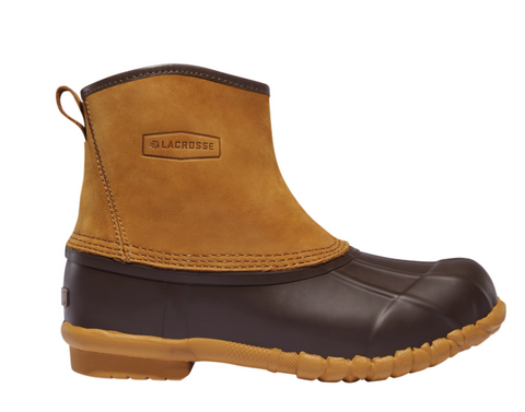 "LaCrosse Trekker 7"" height Brown Boots light brown leather on top and darker brown rubber on bottom"