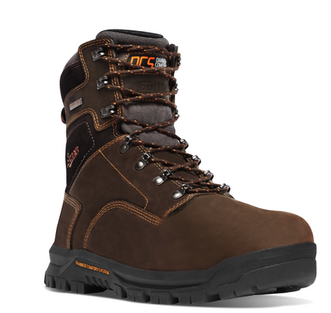 "Danner Crafter 8"" Work Boots Non Metallic Toe Insulated 600G brown with orange writing"