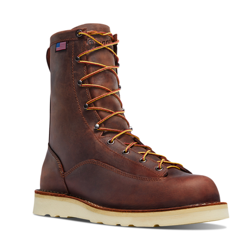 "DANNER BULL Run 8"" BROWN CRISTY with American Flag and wedge sole"