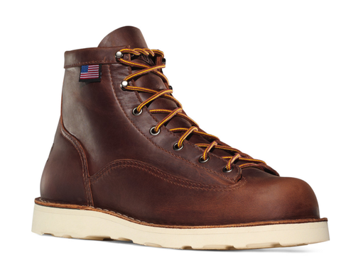 "DANNER BULL RUN MOC TOE 6"" BROWN CRISTY with Amercian Flag and wedge sole"