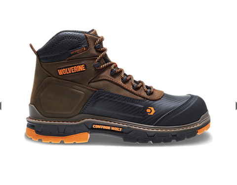 "Wolverine OVERPASS CARBONMAX 6"" BOOT brown upper black front orange accents"