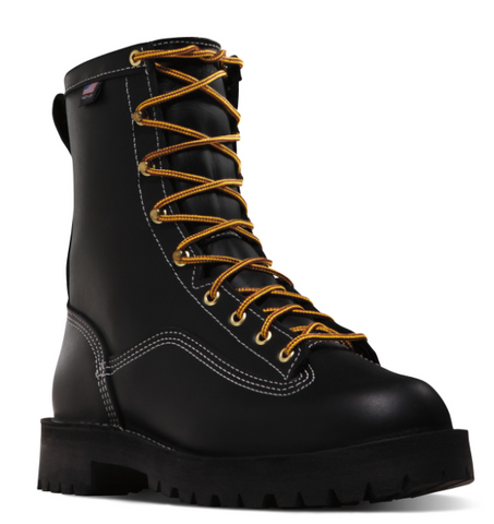 Danner SUPER RAIN FOREST BLACK Plain Toe 200G Insulation Boots orange laces