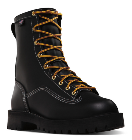 "Danner SUPER RAIN FOREST 8"" Black Plain Toe Boots orange laces"