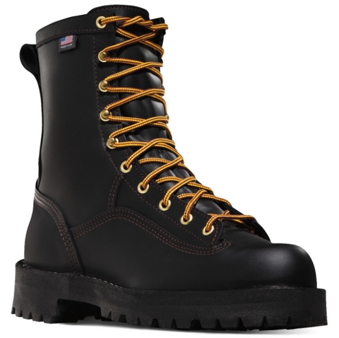 "Danner RAIN FOREST 8"" BLACK Plain Toe Boots orange laces American Flag"