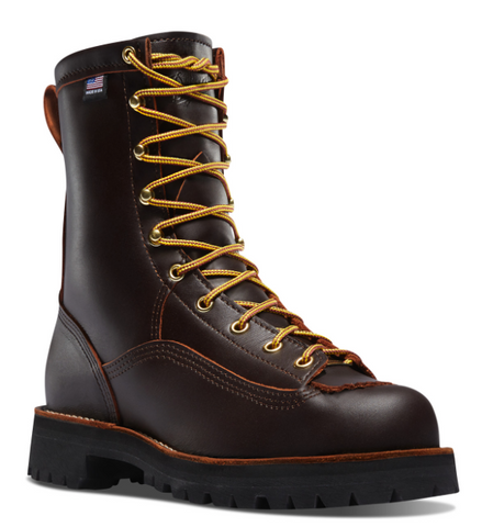 Danner RAIN FOREST BROWN Plain Toe Boots 8 inch