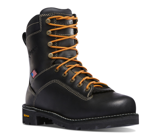 "Danner QUARRY USA 8"" BLACK Plain Toe Boots orange laces American flag"