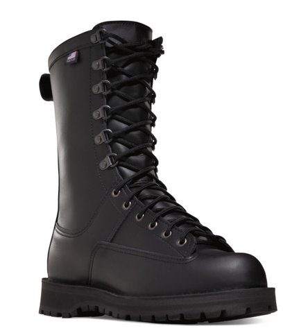 Danner FORT LEWIS 10 inch Boots all black with black laces and American flag
