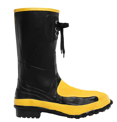 LaCrosse META PAC 12 inch BLACK METATARSAL GUARD/STEEL MIDSOLE/STEEL TOE rubber boots black with yellow toe and lace at top