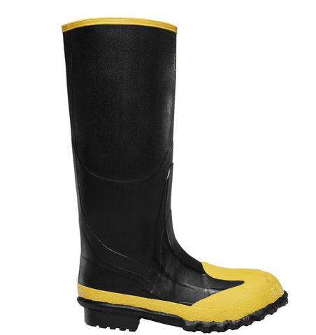 LaCrosse META PAC 16 inch BLACK METATARSAL GUARD/STEEL MIDSOLE/STEEL TOE black rubber boots with yellow toe