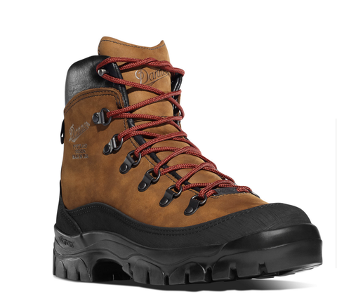 Danner CRATER RIM BROWN upper black rim around the bottom red shoelaces 6 inch Hiking Boots