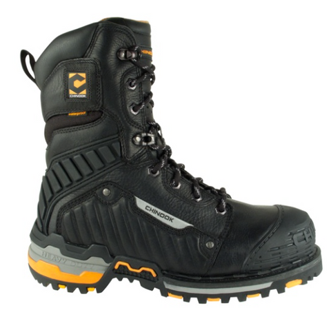 Chinook Scorpion two boots 9 inch high black boots with reflective strip on the side orange accents on the heel and sole leather rubber and hard plastic toe cap steel toe lace up