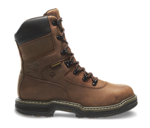 Wolverine MARAUDER WATERPROOF STEEL-TOE EH LACE UP 8 inch 400 grams Insulated Work Boots all brown with brown laces white threading around sole