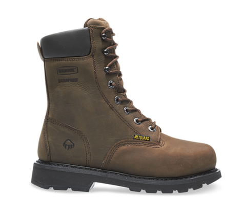 Wolverine MCKAY WATERPROOF STEEL-TOE EH 8 inch Work Boots all brown with brown laces