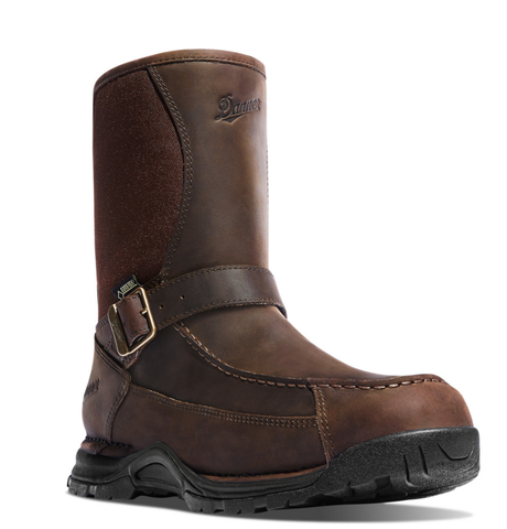 Danner SHARPTAIL REAR ZIP 10 inch DARK all BROWN Boots strap across the front with a bucket on the side by the ankle