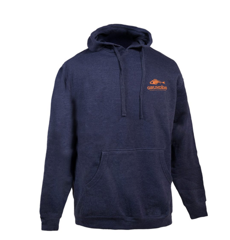 Grundens OUTDOOR LOGO HOODED SWEATSHIRT blue with orange grundens fish logo on left side front and bigger logo with fish on back in orange