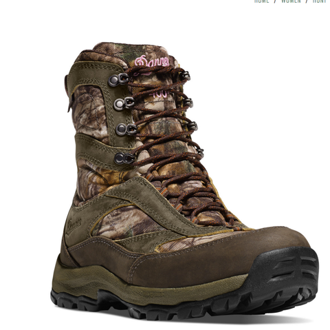 Danner WOMEN'S HIGH GROUND REAL TREE XTRA INSULATED 400 Grams Camo Boots 8 inches high Danner logo written in pink brown laces dark green accents with camo pattern